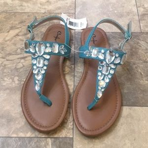 🆕Boho Teal Boho Diamond Leather t strap Sandals
